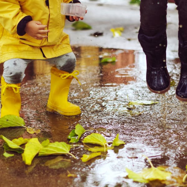 Children jumping in puddles